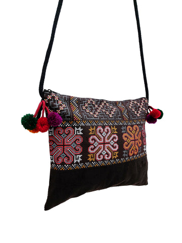 Cotton Bag Mini Bag Pom Pom Hill Tribe Bag Cotton Purse Hippie Bag Clutch Shoulder bag Handbags Sling Bag Mini Crossbody Bag MBP35