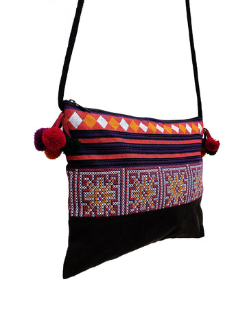 Cotton Bag Mini Bag Pom Pom Hill Tribe Bag Cotton Purse Hippie Bag Clutch Shoulder bag Handbags Sling Bag Mini Crossbody Bag MBP36