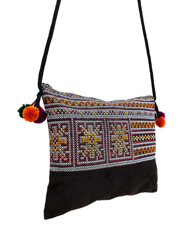 Cotton Bag Mini Bag Pom Pom Hill Tribe Bag Cotton Purse Hippie Bag Clutch Shoulder bag Handbags Sling Bag Mini Crossbody Bag MBP37