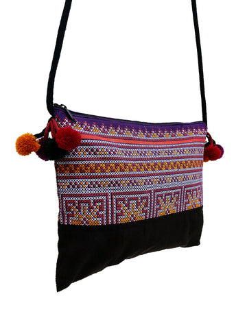 Cotton Bag Mini Bag Pom Pom Hill Tribe Bag Cotton Purse Hippie Bag Clutch Shoulder bag Handbags Sling Bag Mini Crossbody Bag MBP38