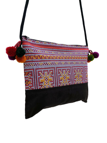 Cotton Bag Mini Bag Pom Pom Hill Tribe Bag Cotton Purse Hippie Bag Clutch Shoulder bag Handbags Sling Bag Mini Crossbody Bag MBP43
