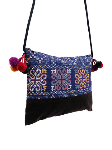 Cotton Bag Mini Bag Pom Pom Hill Tribe Bag Cotton Purse Hippie Bag Clutch Shoulder bag Handbags Sling Bag Mini Crossbody Bag MBP41
