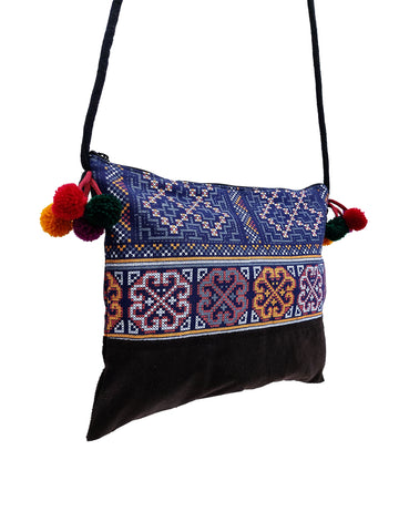 Cotton Bag Mini Bag Pom Pom Hill Tribe Bag Cotton Purse Hippie Bag Clutch Shoulder bag Handbags Sling Bag Mini Crossbody Bag MBP42