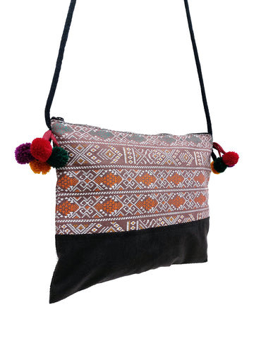 Cotton Bag Mini Bag Pom Pom Hill Tribe Bag Cotton Purse Hippie Bag Clutch Shoulder bag Handbags Sling Bag Mini Crossbody Bag MBP40