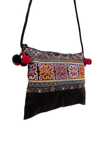 Cotton Bag Mini Bag Pom Pom Hill Tribe Bag Cotton Purse Hippie Bag Clutch Shoulder bag Handbags Sling Bag Mini Crossbody Bag Brown MBP50