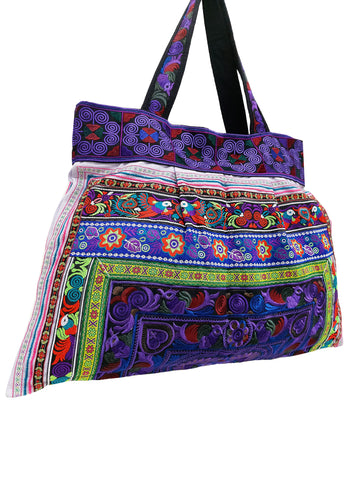 Hill Tribe Bag Hmong Bag Thai Cotton Bag Embroidered Ethnic Purse Woven Bag Hippie Bag Hobo Boho Bag Shoulder Bag Bird Violet HTB1-8