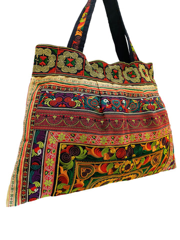 Hill Tribe Bag Hmong Bag Thai Cotton Bag Embroidered Ethnic Purse Woven Bag Hippie Bag Hobo Boho Bag Shoulder Bag Bird Gold Yellow HTB1-9