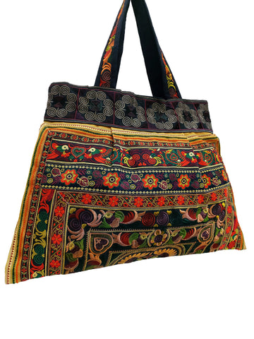 Hill Tribe Bag Hmong Bag Thai Cotton Bag Embroidered Ethnic Purse Woven Bag Hippie Bag Hobo Boho Bag Shoulder Bag Bird Brown HTB1-11