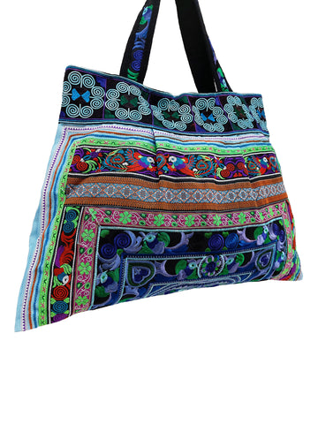 Hill Tribe Bag Hmong Bag Thai Cotton Bag Embroidered Ethnic Purse Woven Bag Hippie Bag Hobo Boho Bag Shoulder Bag Bird Blue Green HTB1-13