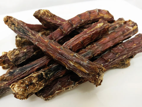 Kanom: 5 PCS of Dried & Grilled Duck Necks For Dog. Natural Snack. Reduce & Eliminate TAR TAR and bad breath!