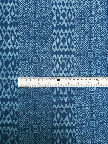 Thai Hand printed Fabric Natural Cotton Fabric by the yard Hmong Fabric Hill Tribe Fabric Vintage Fabric Batik Fabric Dark Sky Blue HFP21