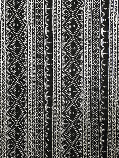 Thai Woven Fabric Tribal Fabric Native Fabric by the yard Ethnic fabric Aztec fabric Craft Supplies Woven Textile 1/2 yard Black (WFF218)