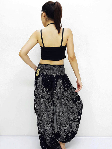 Harem Pants Women Pants Yoga Pants Aladdin Pants Boho Pants Gypsy Pants Rayon Hippie Pants Trouser Snow Flake Black (TS246)
