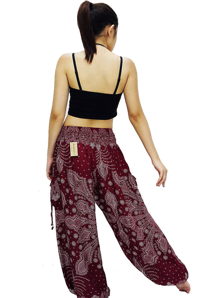 Harem Pants Plus Size XXL Yoga Pants Aladdin Pants Boho Pants Gypsy Pants Rayon Hippie Pants Trouser Snow Flake Red (TS249)