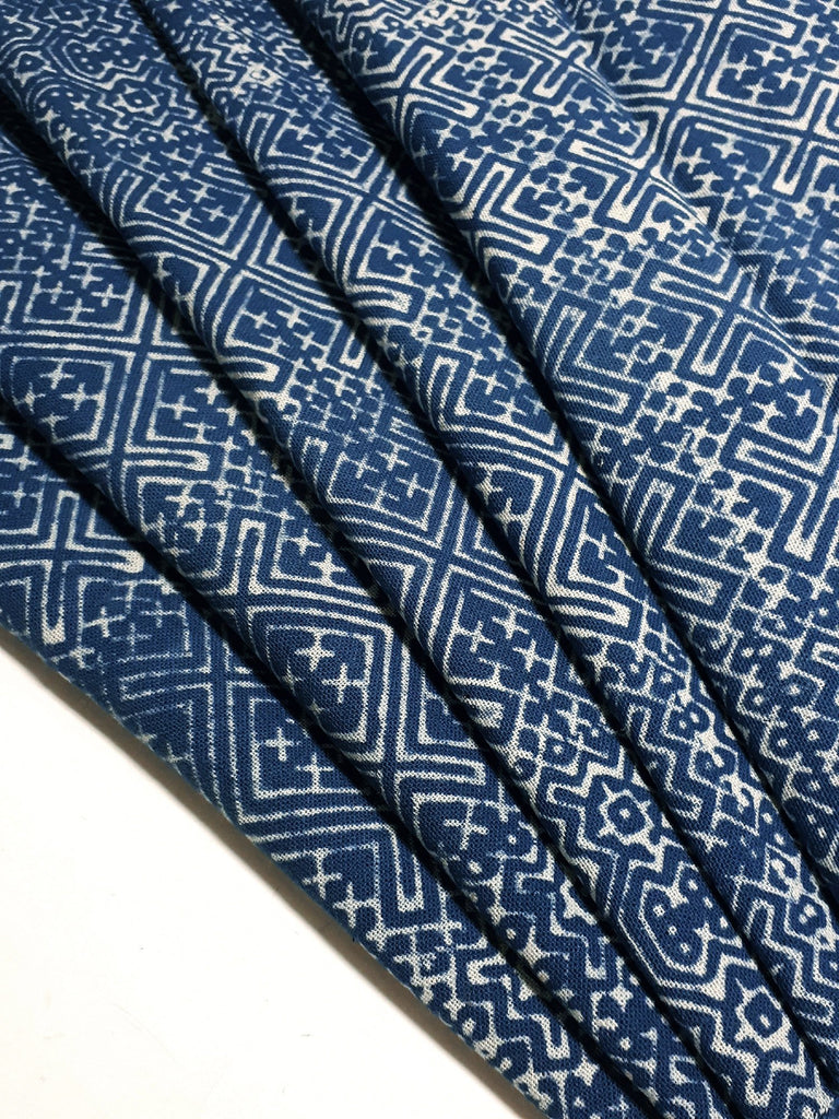 Thai Hand printed Fabric Natural Cotton Fabric by the yard Hmong Fabric Tribal Fabric Vintage Fabric Batik Fabric Cobalt Blue HFP25