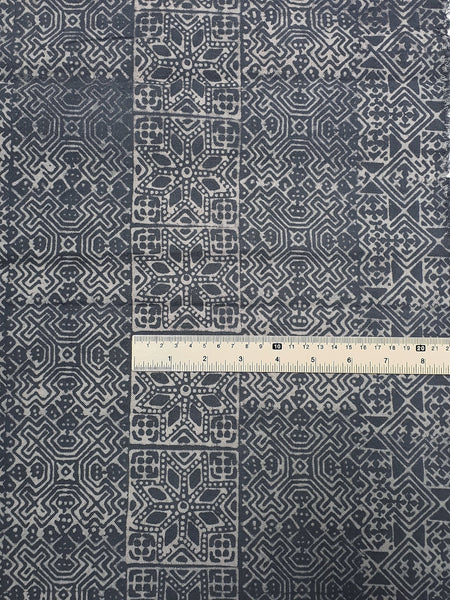 Thai Hand printed Fabric Natural Cotton Fabric by the yard Hmong Fabric Hill Tribe Fabric Vintage Fabric Batik Fabric Gray HFP28