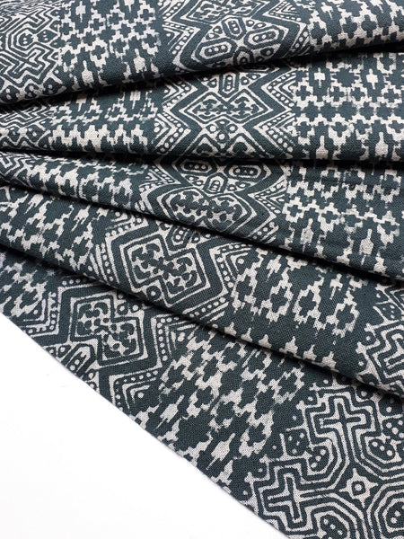 Thai Hand printed Fabric Natural Cotton Fabric by the yard Hmong Fabric Hill Tribe Fabric Vintage Fabric Batik Fabric Slate Gray HFP29