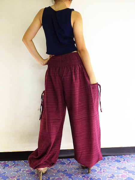 Natural Cotton Harem Trousers Solid Color Purple (TCC2)
