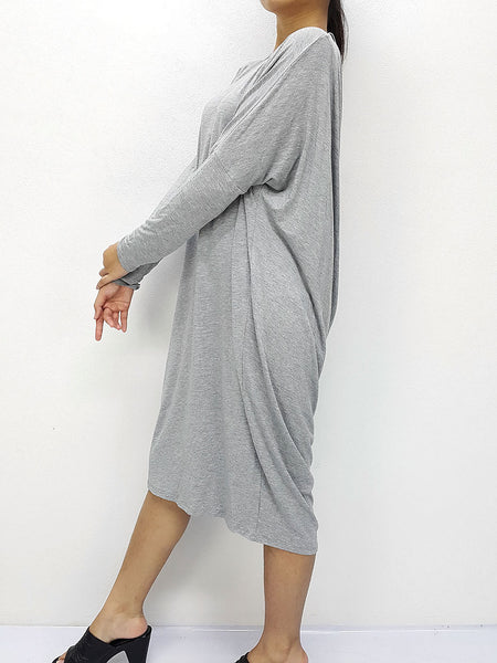 BF09 Dresses Boat Neck Wide Neck, Midi Sleeves Spandex Jersey Grey, Cozzzy, HaremPantsThai