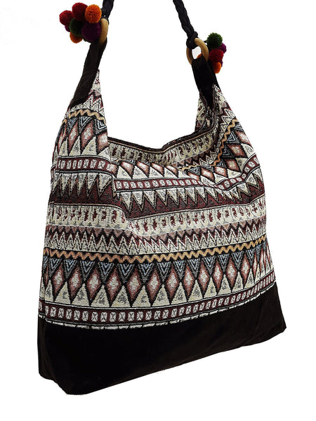 SWP3 - Thai Woven Bag Cotton Purse Tote bag Women bag Hippie bag Hobo bag Boho bag Shoulder bag Market bag Shopping bag Handbags Pom Pom Strap