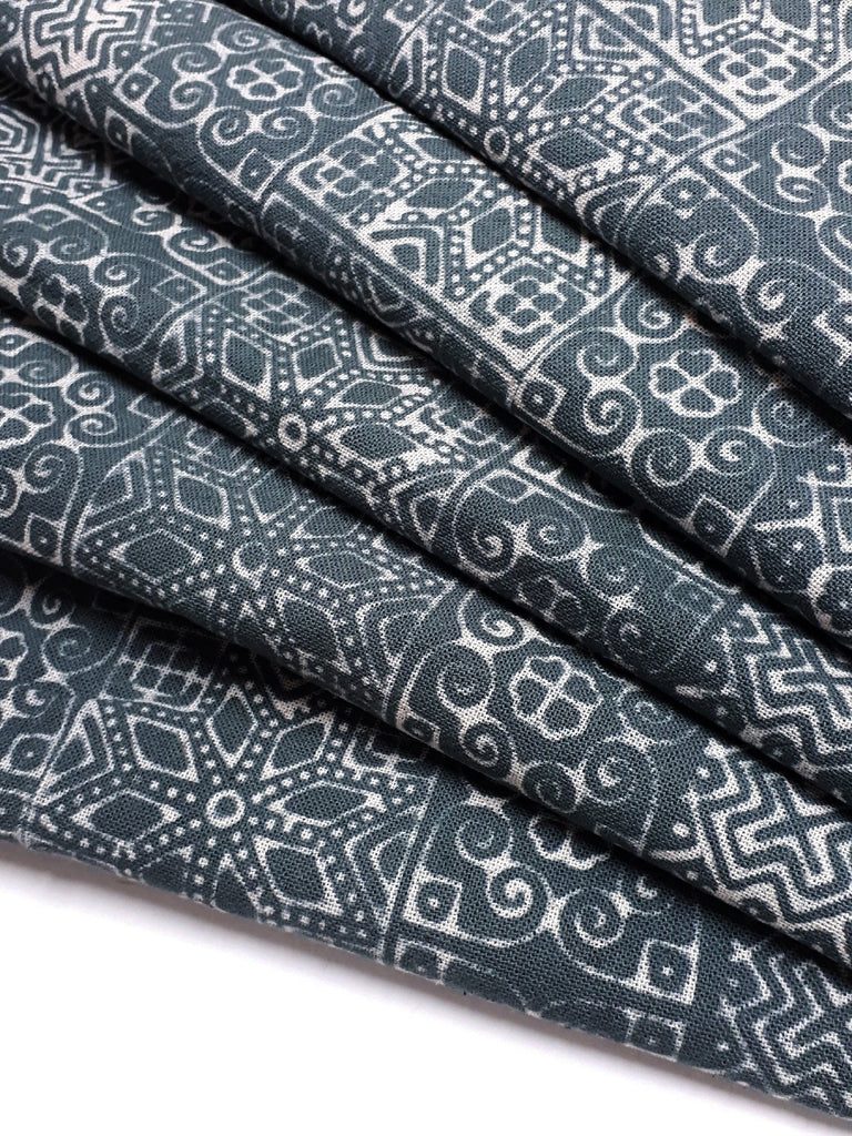 Thai Hand printed Fabric Natural Cotton Fabric by the yard Hmong Fabric Hill Tribe Fabric Vintage Fabric Batik Fabric Slate Gray HFP30