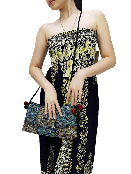 Thai Hill Tribe Bag Pom Pom Hmong Thai Bag Embroidered Ethnic Purse Woven Bag Hippie Bag Clutch Sling Bag Crossbody Bag Blue Yellow HTP31