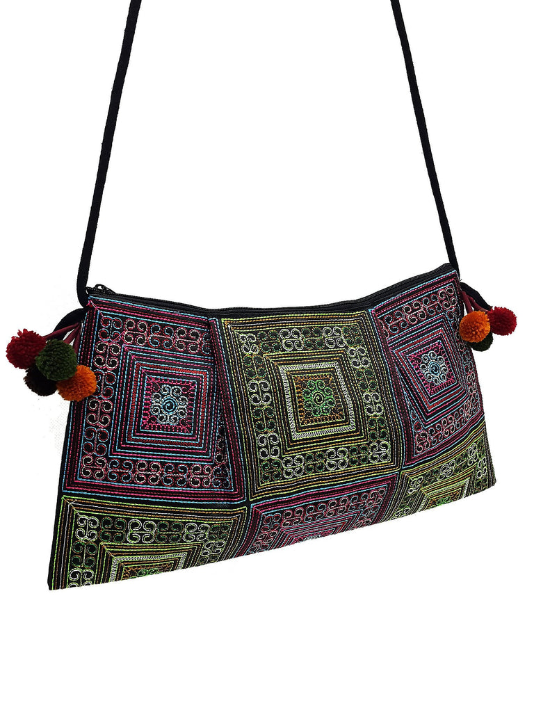 Thai Hill Tribe Bag Pom Pom Hmong Thai Bag Embroidered Ethnic Purse Woven Bag Hippie Bag Clutch Sling Bag Crossbody Bag Green Blue Red HTP32
