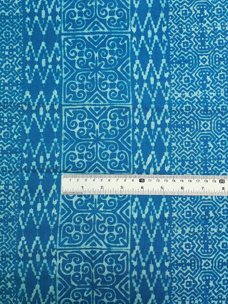 Thai Hand printed Fabric Natural Cotton Fabric by the yard Hmong Fabric Hill Tribe Fabric Vintage Fabric Batik Fabric Turquoise Blue HFP32