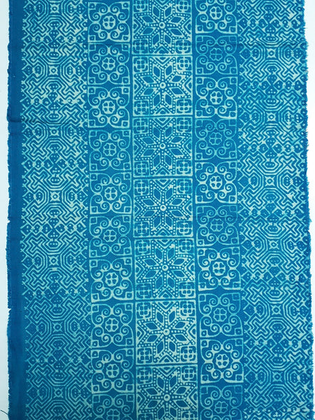 Thai Hand printed Fabric Natural Cotton Fabric by the yard Hmong Fabric Hill Tribe Fabric Vintage Fabric Batik Fabric Turquoise Blue HFP33