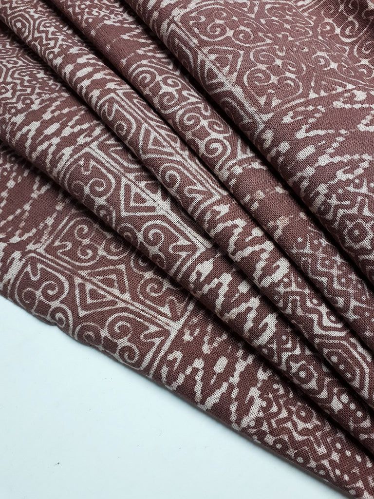 Thai Hand printed Fabric Natural Cotton Fabric by the yard Hmong Fabric Hill Tribe Fabric Vintage Fabric Batik Fabric Brown HFP34