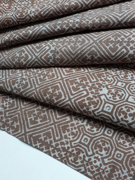 Thai Hand printed Fabric Natural Cotton Fabric by the yard Hmong Fabric Hill Tribe Fabric Vintage Fabric Batik Fabric Khaki Brown HFP36