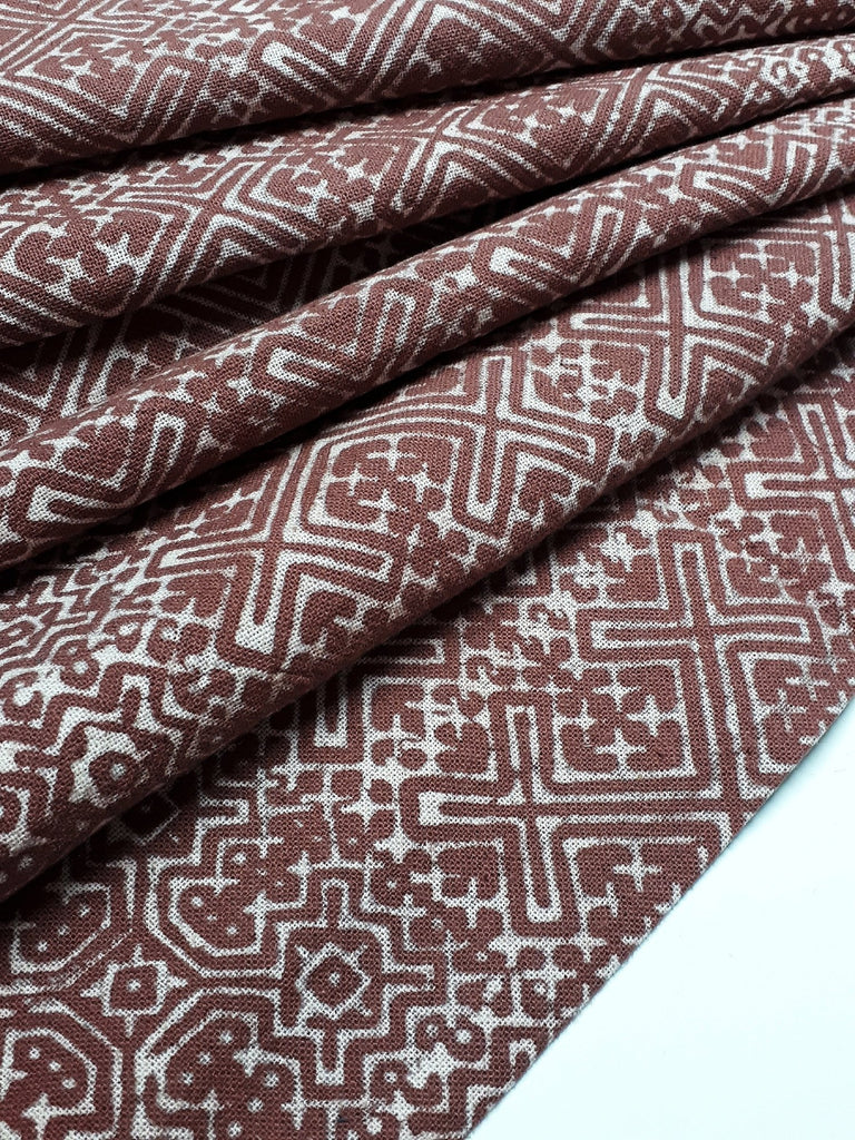 Thai Hand printed Fabric Natural Cotton Fabric by the yard Hmong Fabric Hill Tribe Fabric Vintage Fabric Batik Fabric Brown HFP37