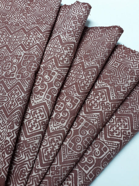 Thai Hand printed Fabric Natural Cotton Fabric by the yard Hmong Fabric Hill Tribe Fabric Vintage Fabric Batik Fabric Brown HFP38