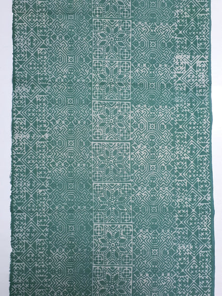 Thai Hand printed Fabric Natural Cotton Fabric by the yard Hmong Fabric Hill Tribe Fabric Vintage Fabric Batik Fabric Green HFP39