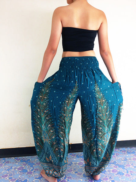 PLUS SIZE XXL Handmade Harem Trousers Rayon Bohemian Trousers Hippie Boho Pants Feather Teal Green (TS24)