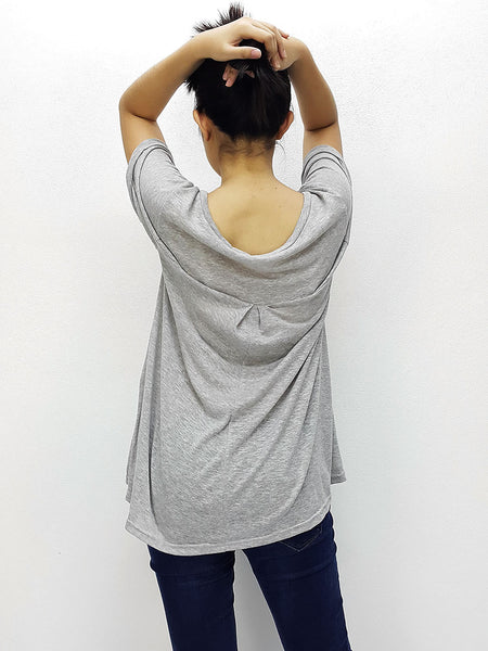 BF07 Blouses Crew Neck Wide Neck Short Sleeves Grey, Cozzzy, HaremPantsThai