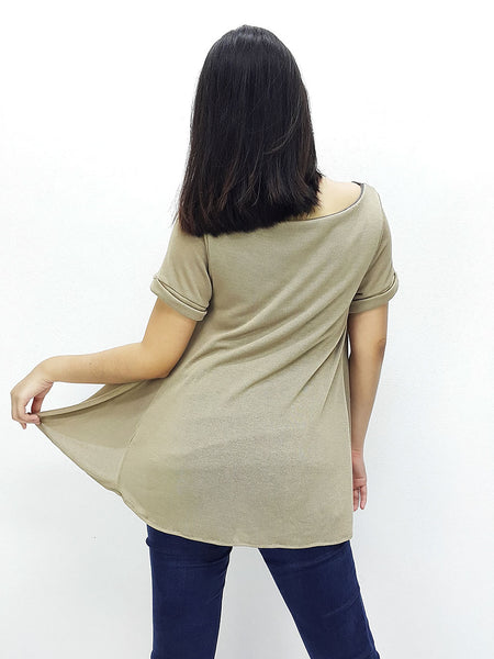 BF04 Blouses Fake Layered Wide Neck Short Sleeves BrownBeige Grey