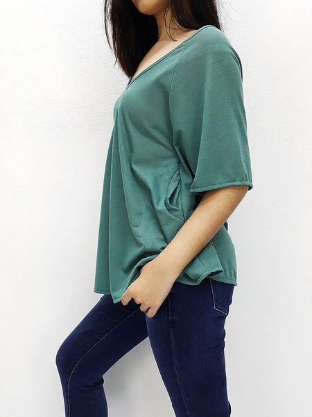 BF03 Blouses Boat Neck Off Shoulder Green, Cozzzy, HaremPantsThai