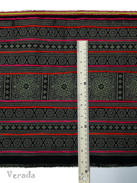 Thai Hand printed Hmong Hill Tribe Batik Fabric Black Green HF4