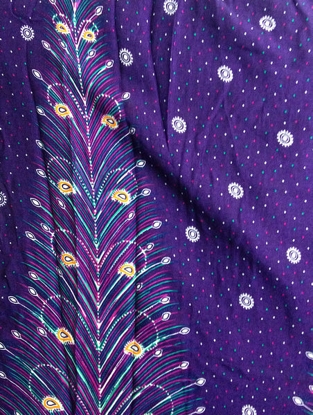 PLUS SIZE XXL Handmade Harem Trousers Rayon Bohemian Trousers Hippie Boho Pants Feather Violet Purple (TS40)