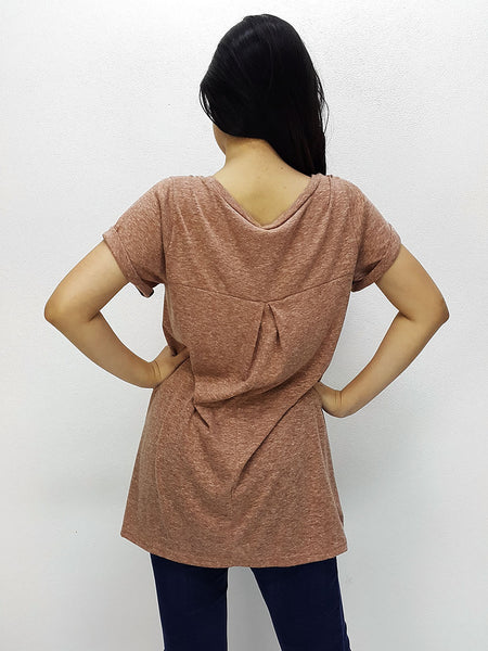 BF07 Blouses Crew Neck Wide Neck Short Sleeves Brown, Cozzzy, HaremPantsThai
