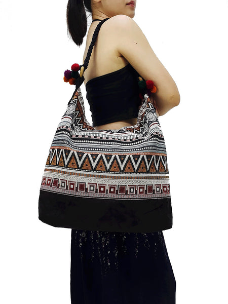 SWP4 - Thai Woven Bag Cotton Purse Tote bag Women bag Hippie bag Hobo bag Boho bag Shoulder bag Market bag Shopping bag Handbags Pom Pom Strap