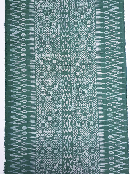 Thai Hand printed Fabric Natural Cotton Fabric by the yard Hmong Fabric Hill Tribe Fabric Vintage Fabric Batik Fabric Green HFP40