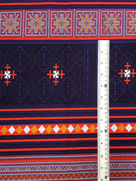 Thai Cotton Fabric Tribal Fabric Native Fabric by the yard Ethnic fabric Craft Supplies Hill Tribe Textile 1/2 yard Violet (TCF4)