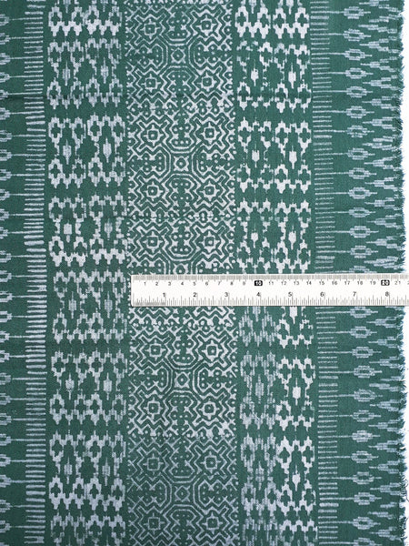 Thai Hand printed Fabric Natural Cotton Fabric by the yard Hmong Fabric Hill Tribe Fabric Vintage Fabric Batik Fabric Green HFP41