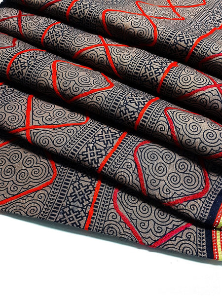 Thai Hand printed Fabric Natural Cotton Fabric by the yard Hmong Fabric Hill Tribe Fabric Vintage Fabric Indigo Batik Khaki Brown Black HF58