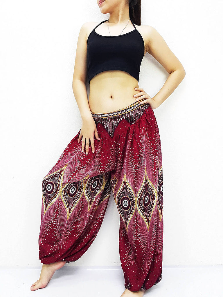 SRT@60 Women Harem Pants Yoga Pants Aladdin Pants Maxi Pants Boho Pants Gypsy Pants Rayon Pants Genie Pants Unique Trouser Dark Red