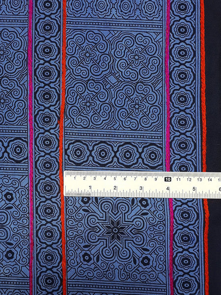 Thai Hand printed Fabric Natural Cotton Fabric by the yard Hmong Fabric Hill Tribe Fabric Vintage Fabric Indigo Batik Blue Black HF60