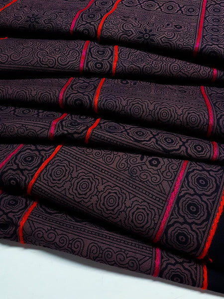 Thai Hand printed Fabric Natural Cotton Fabric by the yard Hmong Fabric Hill Tribe Fabric Vintage Fabric Indigo Batik Dark Brown Black HF61