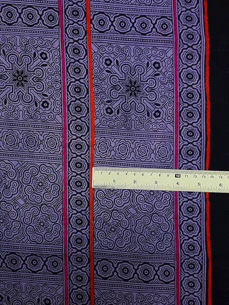 Thai Hand printed Fabric Natural Cotton Fabric by the yard Hmong Fabric Hill Tribe Fabric Vintage Fabric Indigo Batik Soft Violet Black HF62